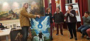 C'est un témoignage de remerciement que cet artiste-peintre autodidacte a voulu donner à la municipalité avec unn tableau témoignant de la fraternité dont il a été l'objet ( © Pierre Nouvelle ).