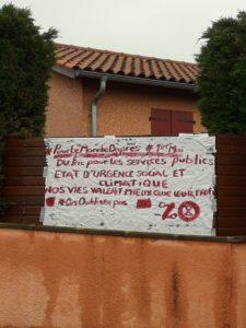 Dans la rue ou sur les balcons, les slogans n'étaient pas en reste pour rappeler que dans le monde d'après-midi, les revendications resteront ( © DR/ANV-Cop21 ).