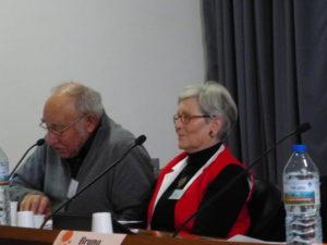 En novembre 2014, lors u 2e colloque CFDT en mai 1968, Auguste Boisson (au côté de Marie-Thérèse Mercier) retraçait l'occupation de l'usine Rhodiacéta de Vaise en 1968 (© Nicole Maire)